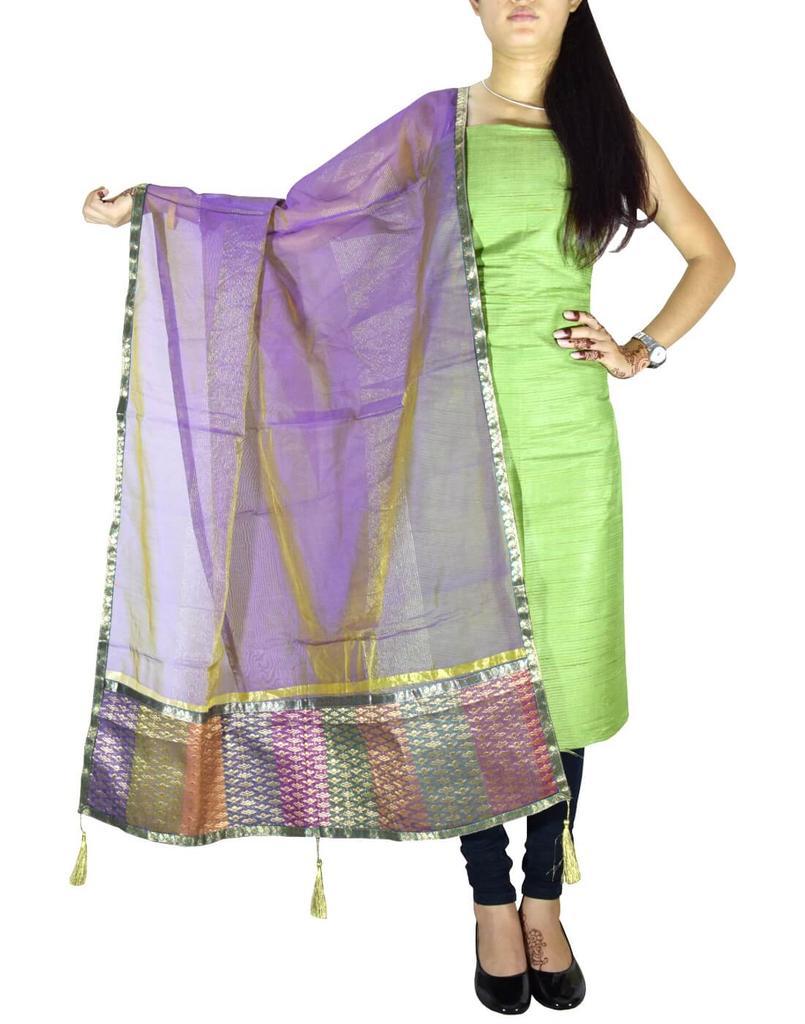 Unstitched Matka Silk Kurta and Chanderi Dupatta- Green&Mauve