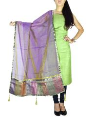 Unstitched Matka Silk Kurta and Chanderi Dupatta- Green&Mauve