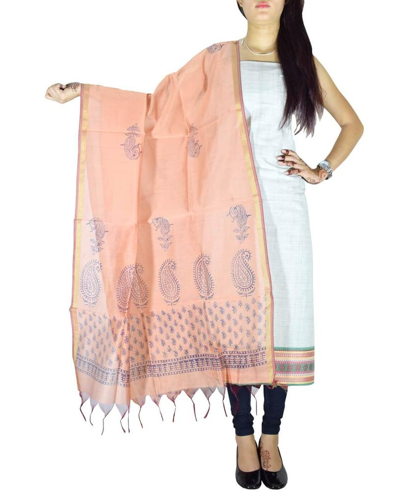 Mangalgiri Cotton Kurta and Blockprint Chanderi Dupatta- Multicolor