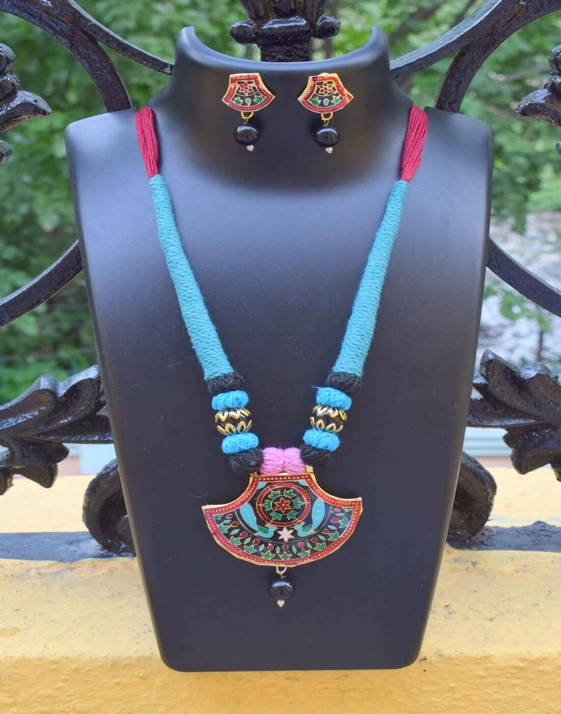 Threaded Meenakari Necklace Set- Pattern 19