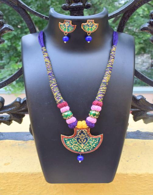 Threaded Meenakari Necklace Set- Pattern 20