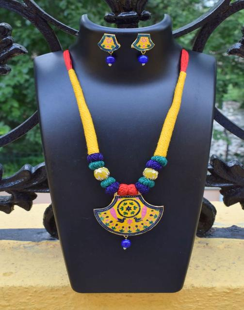 Threaded Meenakari Necklace Set- Pattern 20