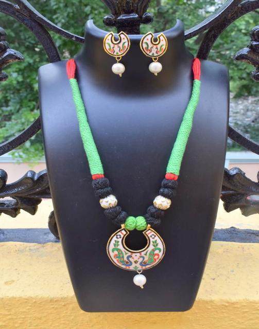 Threaded Meenakari Necklace Set- Pattern 23