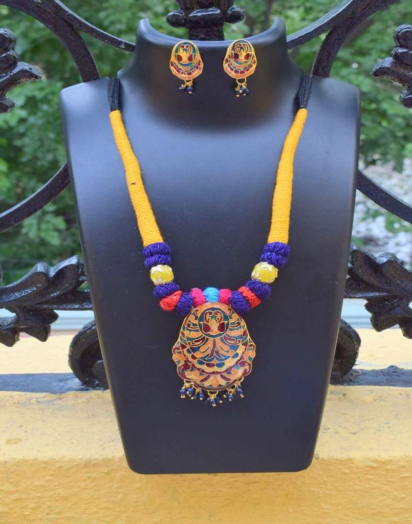 Threaded Meenakari Necklace Set- Pattern 6