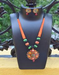 Threaded Meenakari Necklace Set- Pattern 24
