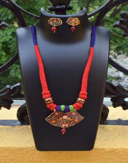 Threaded Meenakari Necklace Set- Pattern 25
