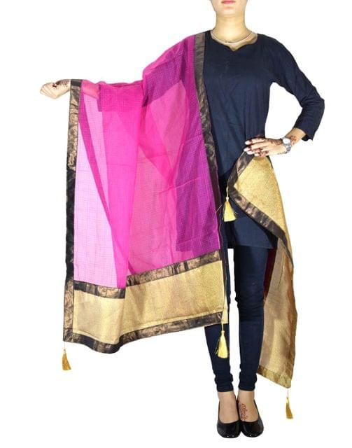 Chanderi Cotton Silk Dupatta- Pink