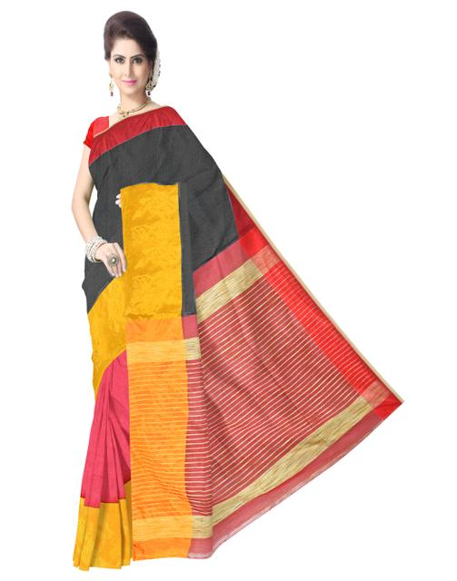 Bengal Handloom Cotton Silk Saree with Ghicha Pallu- Multicolored
