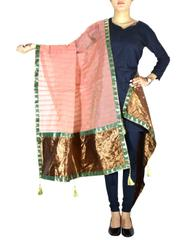 Chanderi Cotton Silk Dupatta- Peach