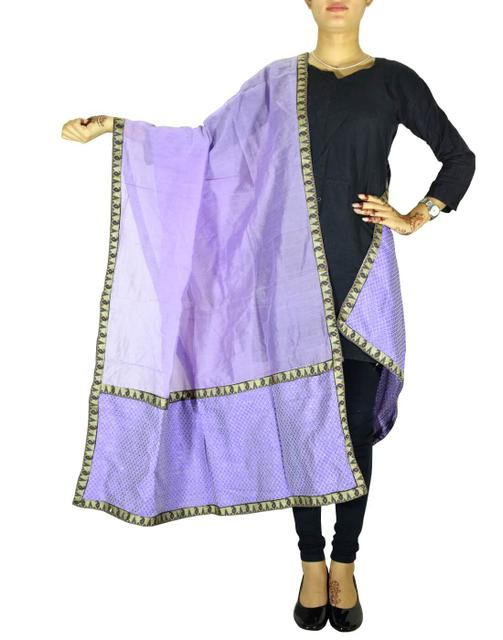 Chanderi Cotton Silk Dupatta- Purple