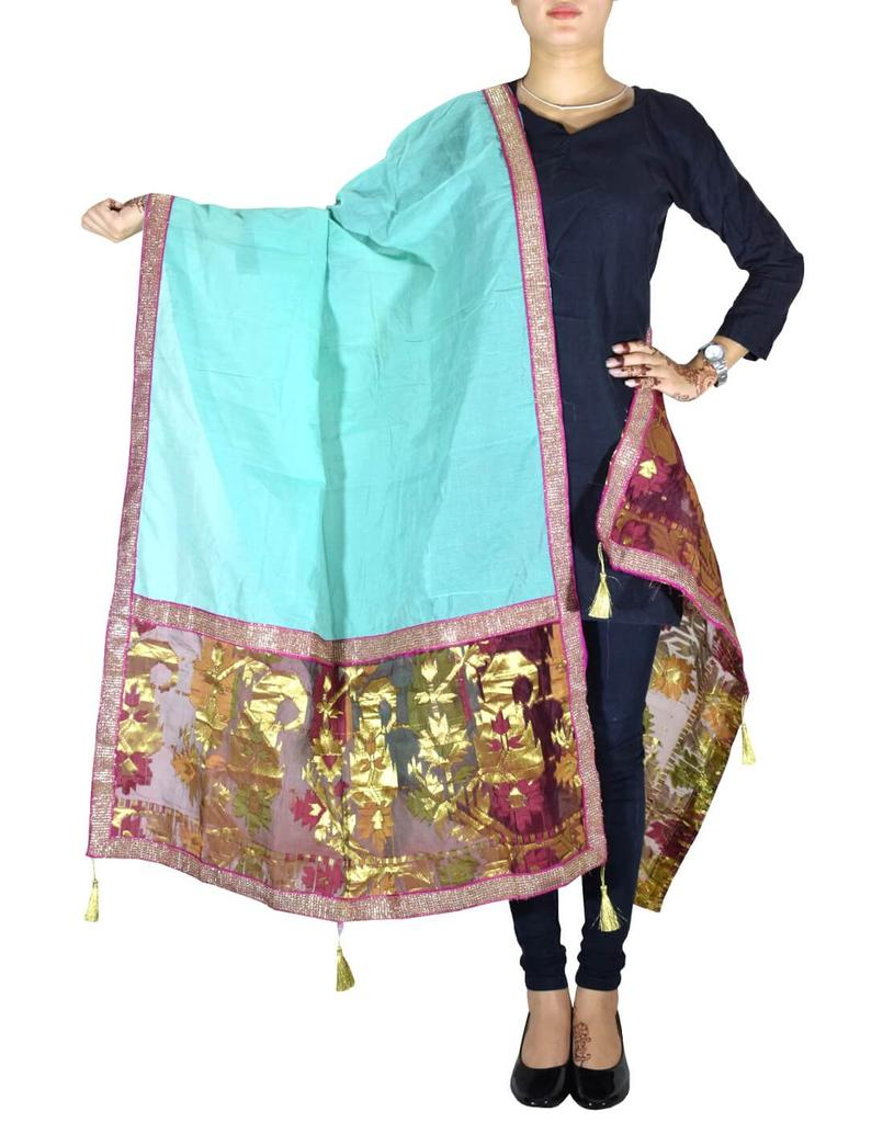 Chanderi Cotton Silk Dupatta- Sea Green