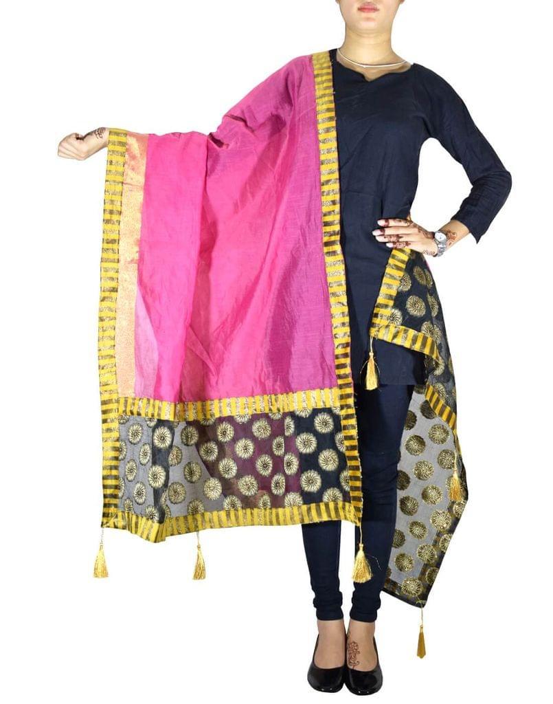 Chanderi Cotton Silk Dupatta- Pink 1