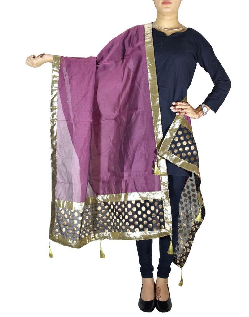 Chanderi Cotton Silk Dupatta-Purple