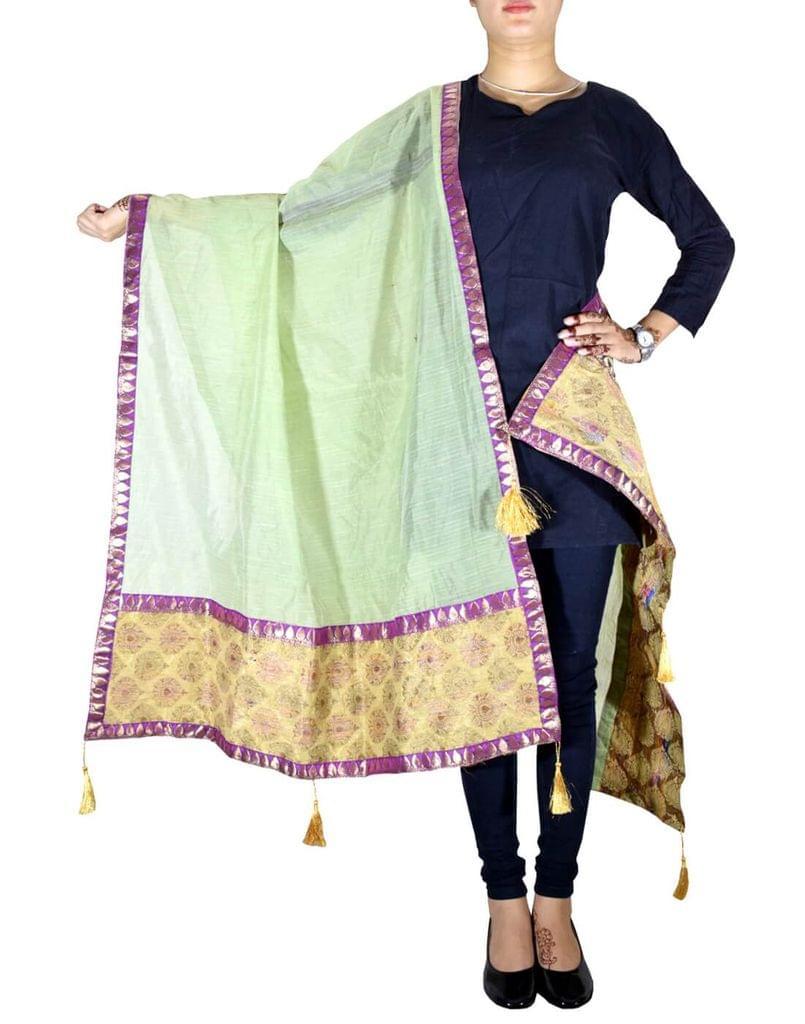 Chanderi Cotton Silk Dupatta-Light Green