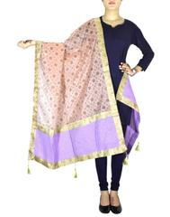Chanderi Cotton Silk Block Printed Dupatta-Peach 1