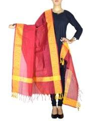 Cotton Silk Dupatta-Red&Yellow