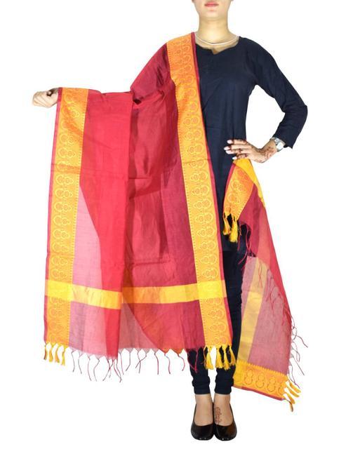 Cotton Silk Dupatta-Red&Yellow