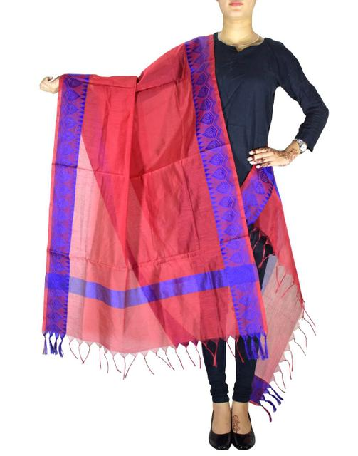 Cotton Silk Dupatta-Red&Blue