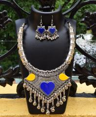 Oxidized Metal Set with Meenakari Work- Blue & Yellow