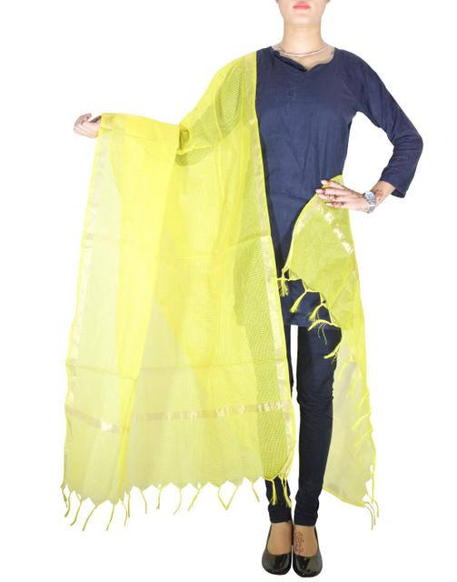 Cotton Silk Dupatta- Yellow