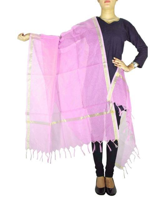 Cotton Silk Dupatta- Pink