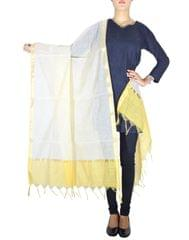 Cotton Silk Dupatta-Cream&Yellow