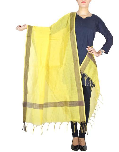 Cotton Silk Dupatta-Yellow&Brown