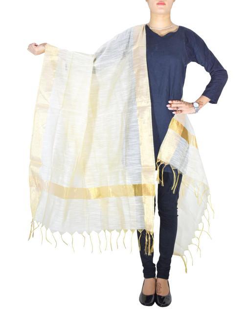 Cotton Silk Dupatta-Offwhite