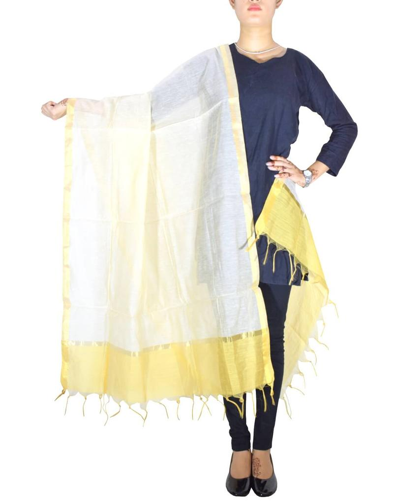 Cotton Silk Dupatta-Offwhite&Yellow