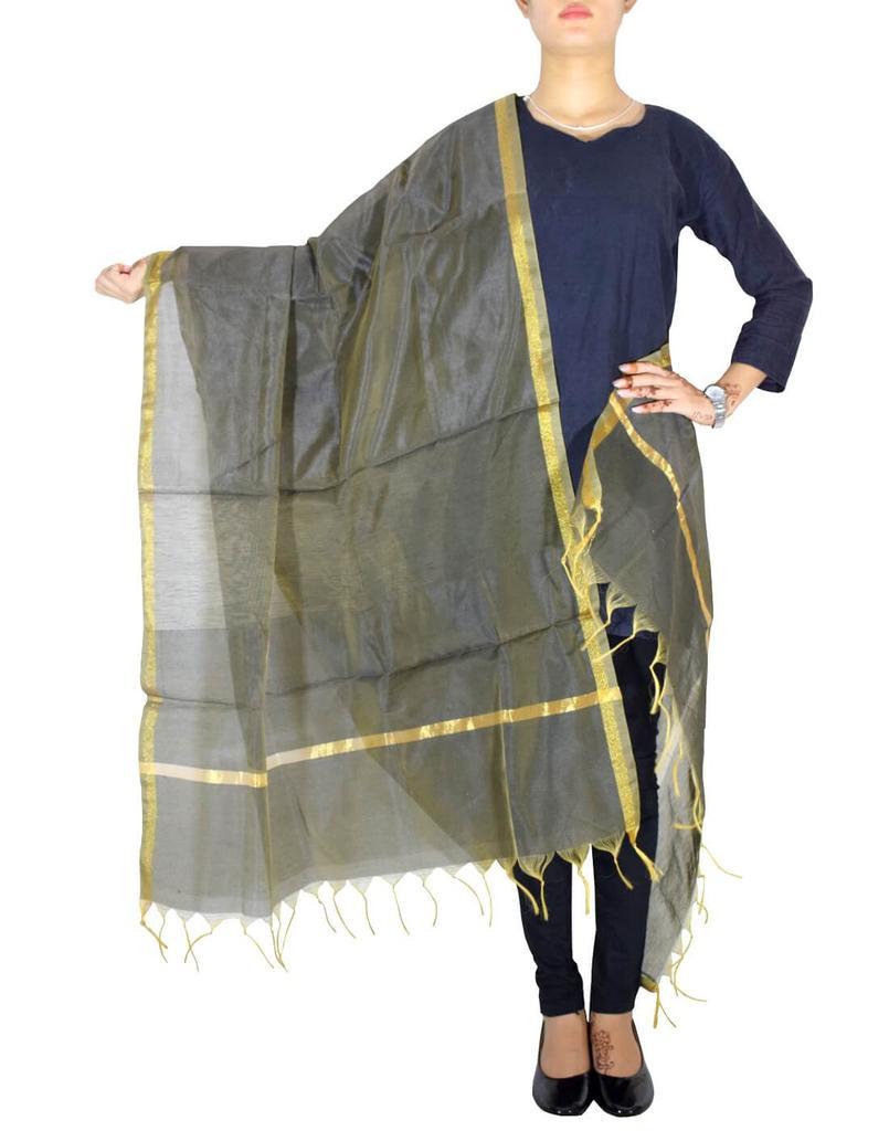 Cotton Silk Dupatta-Dark Gray