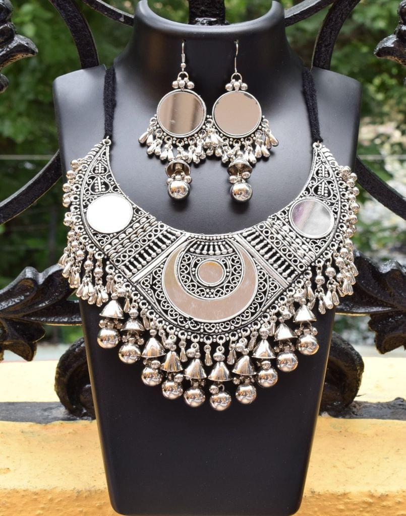 Oxidized Metal  Jewellery Set- Mirror
