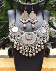 Oxidized Metal  Jewellery Set- Mirror