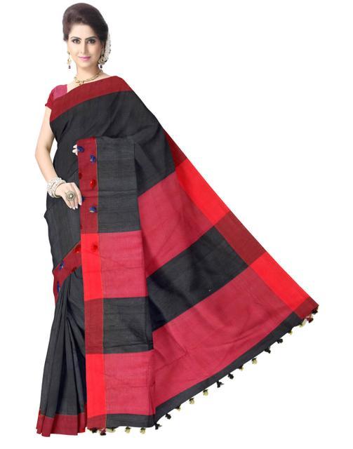 Bengal Handloom Cotton Saree- Black&Red