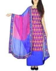 Handembroidered Salwar Suit with Champa Jaal-Pink&Blue