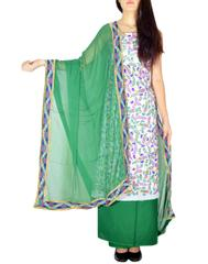 Handembroidered Salwar Suit with Champa Jaal-White&Green