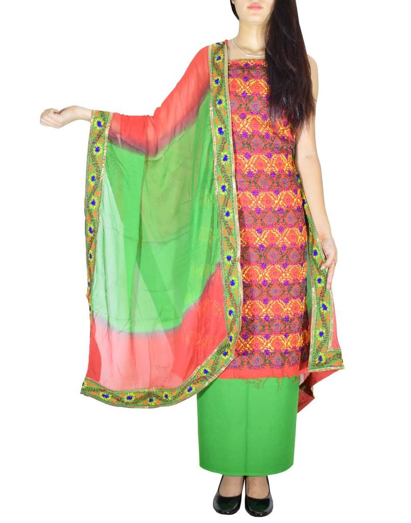 Handembroidered Salwar Suit with Champa Jaal-Red&Green