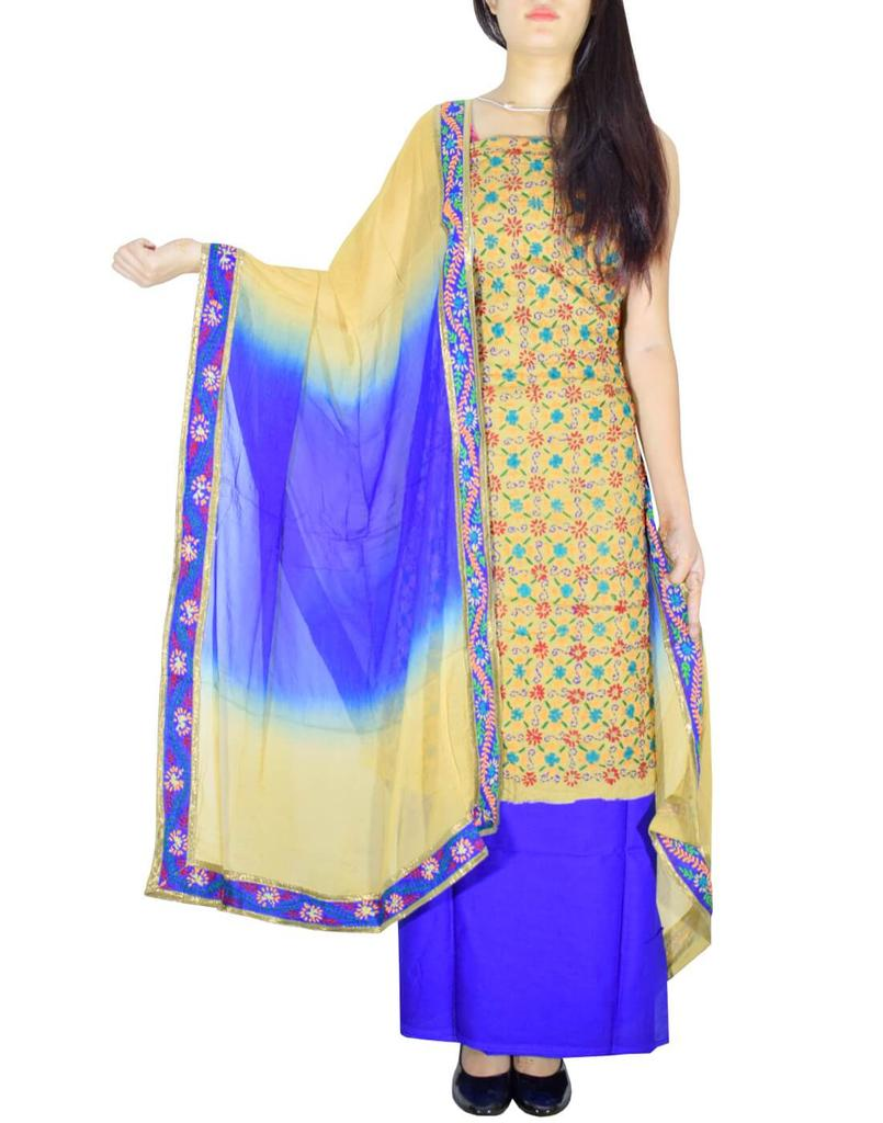 Handembroidered Salwar Suit with Champa Jaal-Blue&Beige
