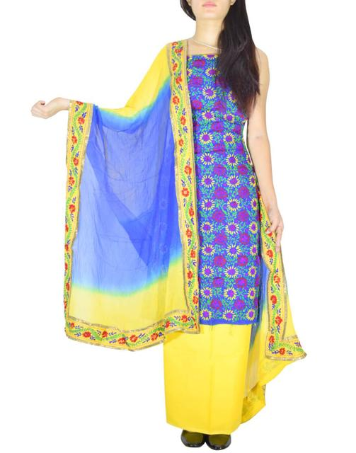Handembroidered Salwar Suit with Champa Jaal-Yellow&Blue
