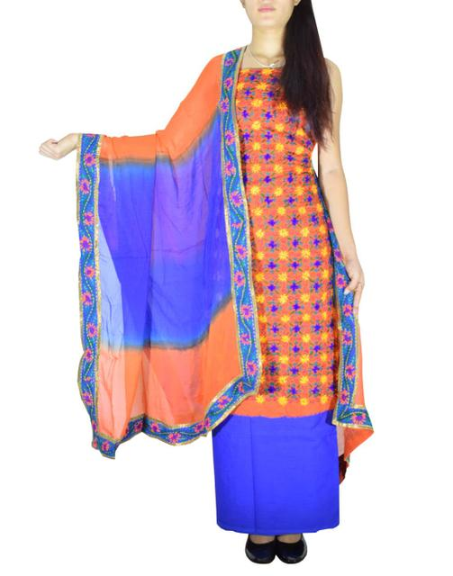 Handembroidered Salwar Suit with Champa Jaal-Orange&Blue