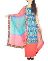 Handembroidered Salwar Suit with Champa Jaal-Sea Green&Red