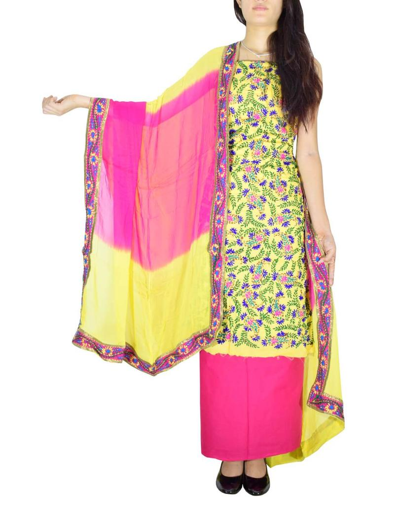 Handembroidered Salwar Suit with Champa Jaal-Light Yellow&Pink