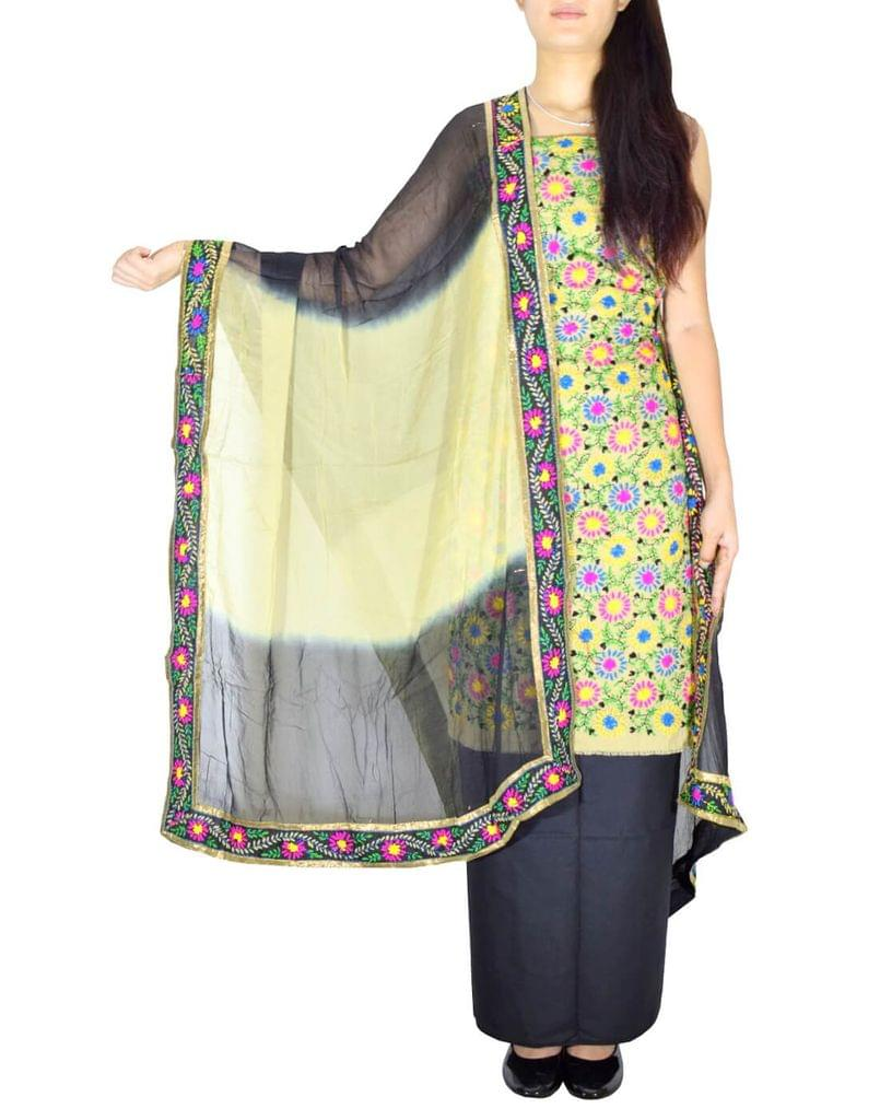 Handembroidered Salwar Suit with Champa Jaal-Beige&Black 1