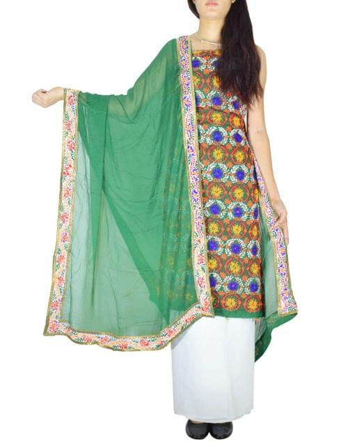 Handembroidered Salwar Suit with Champa Jaal-Green&White