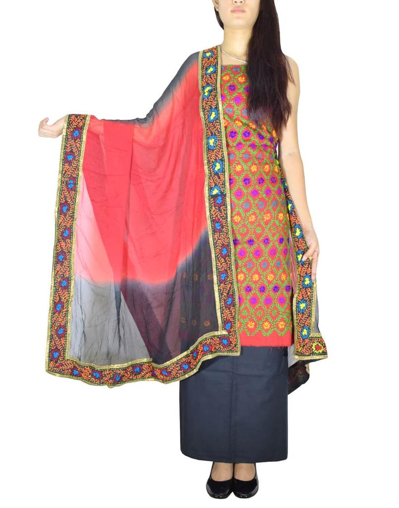 Handembroidered Salwar Suit with Champa Jaal-Black&Red