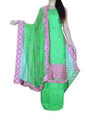 Unstitched Phulkari Suit Piece Cotton Silk-Green