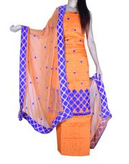Unstitched Phulkari Suit Piece Cotton Silk-Orange
