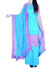 Unstitched Phulkari Suit Piece Cotton Silk-Turquoise
