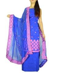 Unstitched Phulkari Suit Piece Cotton Silk-Blue