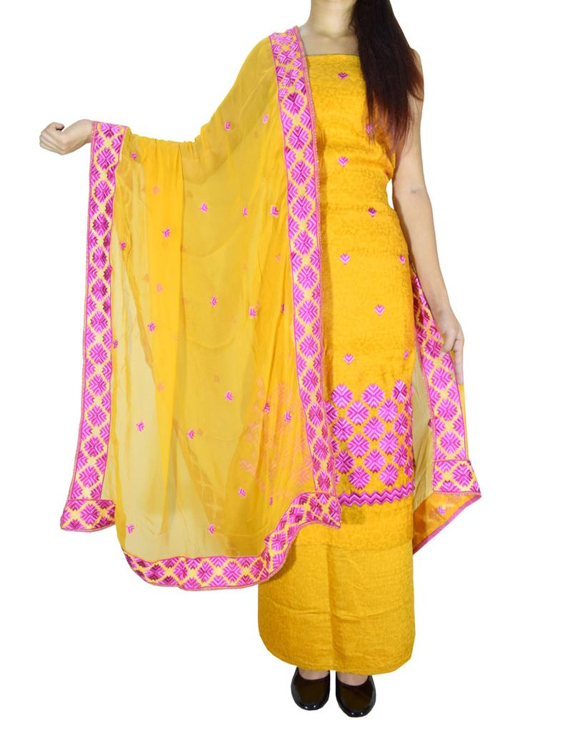 Unstitched Phulkari Suit Piece Cotton Silk-Mustard Yellow