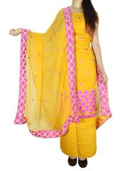 Unstitched Phulkari Suit Piece Cotton Silk-Mustard Yellow